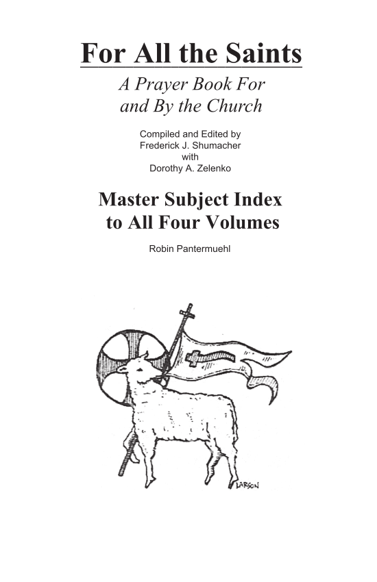 For All the Saints Master Index